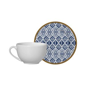 Conjunto de Xícaras de Chá Alleanza Étnico em Cerâmica 4 Peças 250ml