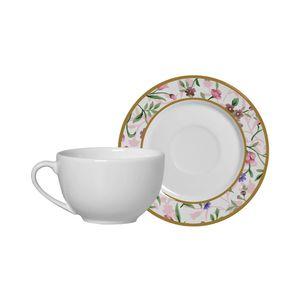 Conjunto de Xícaras de Chá Alleanza Romântico em Cerâmica 4 Peças 250ml