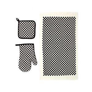Conjunto de Luva Térmica Descanso de Panelas e Pano de Copa Le Preto e Branco 3 Peças
