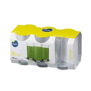 Jogo de Copos Long Drink Nadir Figueredo Cylinder em Vidro Transparente 6 Peças 300ml