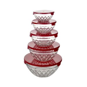 Conjunto de Potes Le Jade em Vidro com Tampa Vermelha com 5 Peças