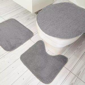 Jogo de Tapetes Para Banheiro Tapetes Junior Color Pop em Algodão Cinza Antiderrapante 3 Peças